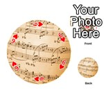 Music Notes Background Playing Cards 54 (Round)  Front - Heart6