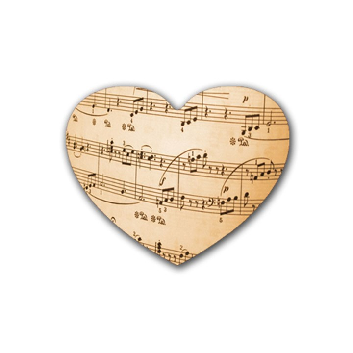 Music Notes Background Rubber Coaster (Heart)