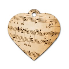 Music Notes Background Dog Tag Heart (One Side)