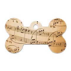 Music Notes Background Dog Tag Bone (One Side)