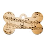 Music Notes Background Dog Tag Bone (One Side) Front