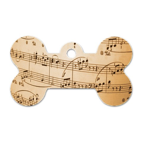 Music Notes Background Dog Tag Bone (Two Sides)
