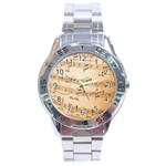 Music Notes Background Stainless Steel Analogue Watch Front