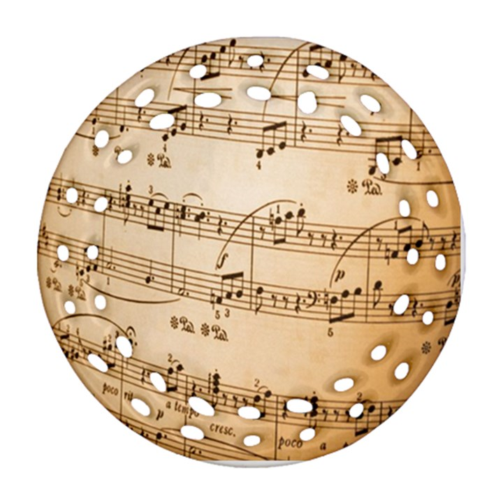 Music Notes Background Round Filigree Ornament (2Side)