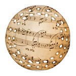 Music Notes Background Round Filigree Ornament (2Side) Back