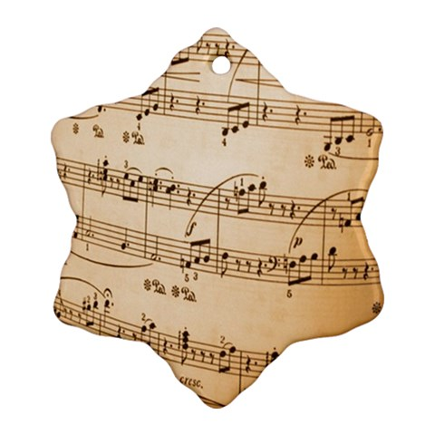 Music Notes Background Snowflake Ornament (2-Side)