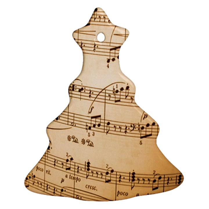 Music Notes Background Christmas Tree Ornament (2 Sides)