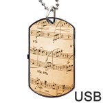Music Notes Background Dog Tag USB Flash (One Side) Front