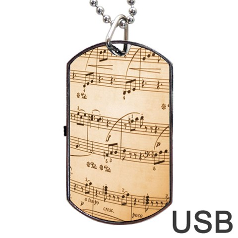 Music Notes Background Dog Tag USB Flash (Two Sides)