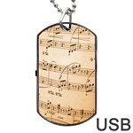 Music Notes Background Dog Tag USB Flash (Two Sides)  Back