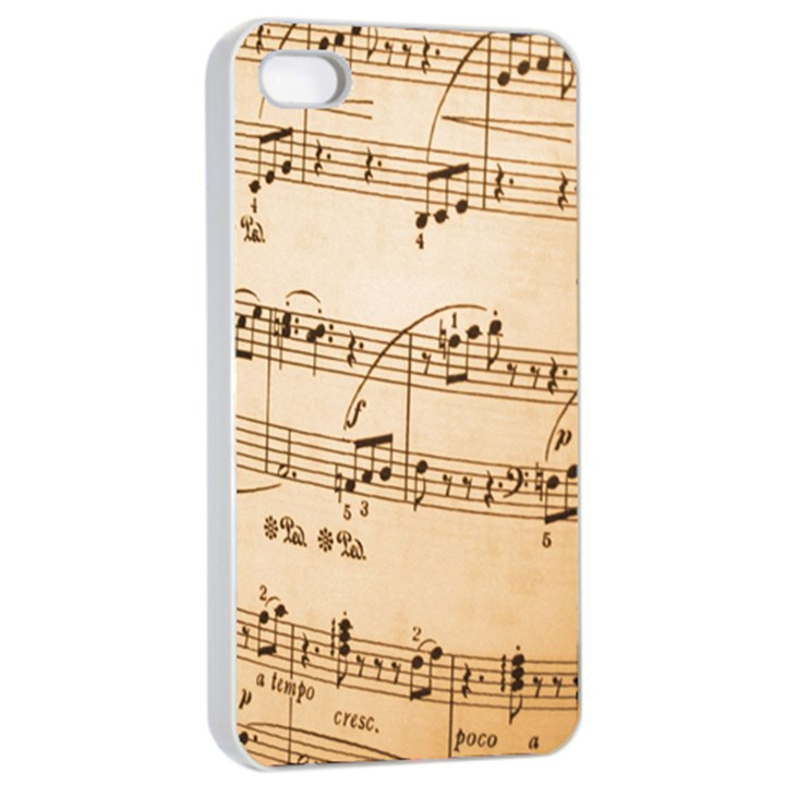 Music Notes Background Apple iPhone 4/4s Seamless Case (White)
