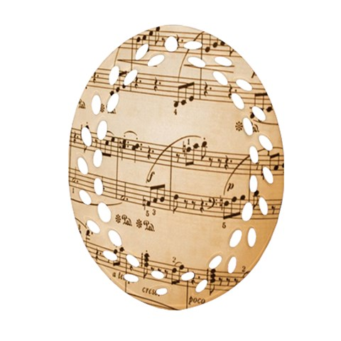 Music Notes Background Oval Filigree Ornament (2-Side)