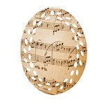 Music Notes Background Oval Filigree Ornament (2-Side)  Front