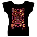 Alphabet Shirt Women s V-Neck Cap Sleeve Top Back