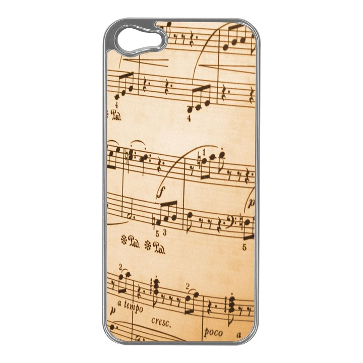 Music Notes Background Apple iPhone 5 Case (Silver)