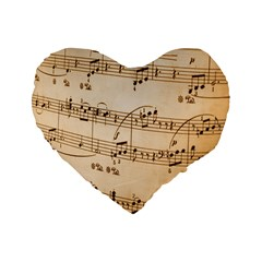Music Notes Background Standard 16  Premium Heart Shape Cushions