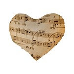Music Notes Background Standard 16  Premium Heart Shape Cushions Back