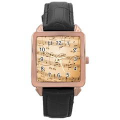 Music Notes Background Rose Gold Leather Watch