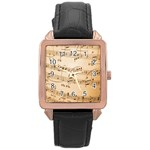 Music Notes Background Rose Gold Leather Watch  Front