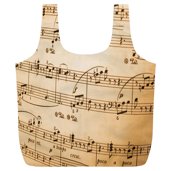 Music Notes Background Full Print Recycle Bags (L)