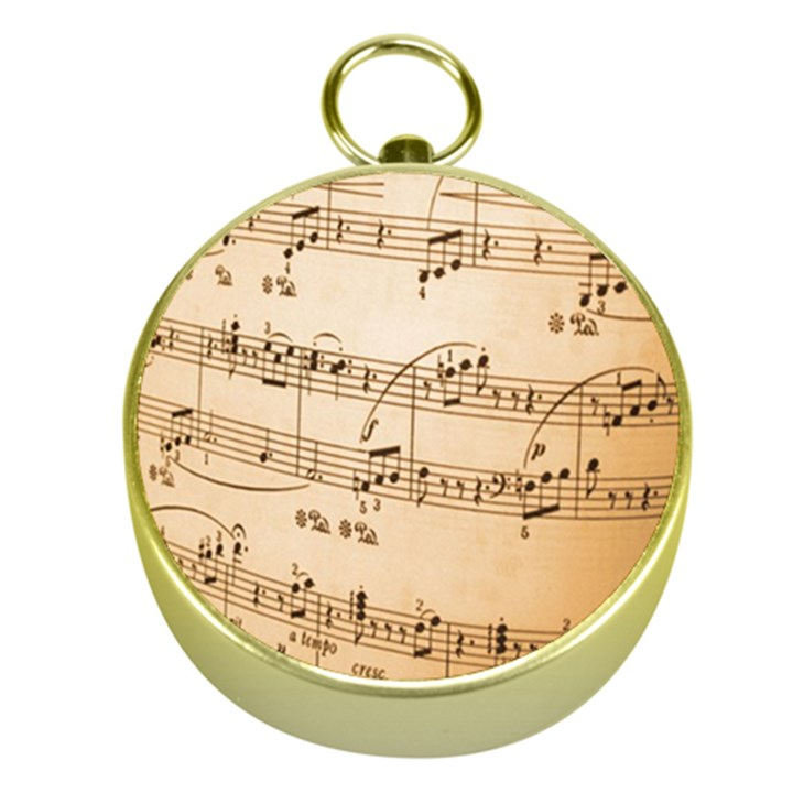 Music Notes Background Gold Compasses