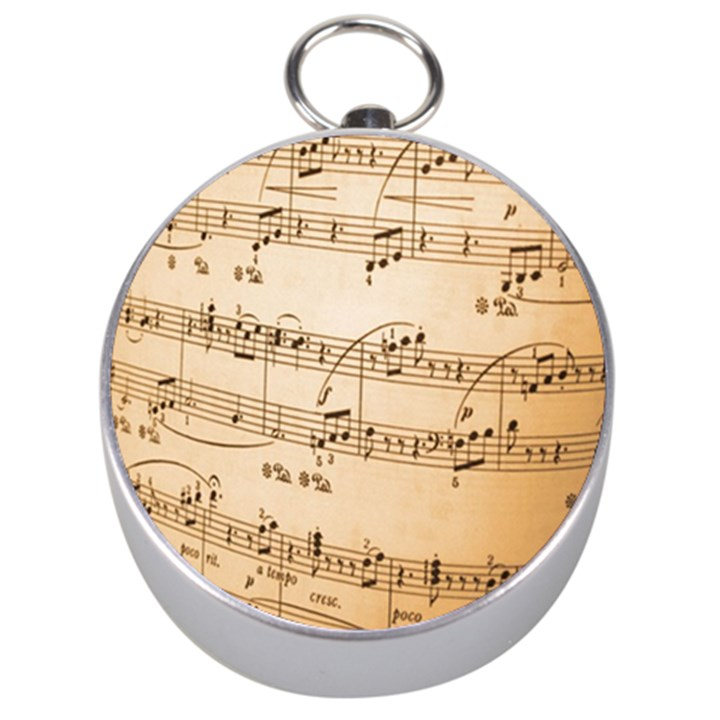 Music Notes Background Silver Compasses
