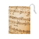 Music Notes Background Drawstring Pouches (Large)  Front