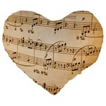 Music Notes Background Large 19  Premium Flano Heart Shape Cushions Front