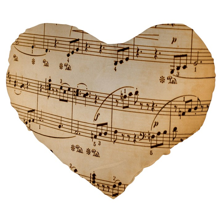 Music Notes Background Large 19  Premium Flano Heart Shape Cushions