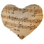 Music Notes Background Large 19  Premium Flano Heart Shape Cushions Back