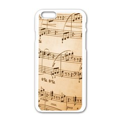Music Notes Background Apple iPhone 6/6S White Enamel Case