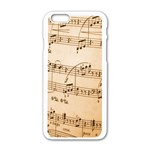 Music Notes Background Apple iPhone 6/6S White Enamel Case Front