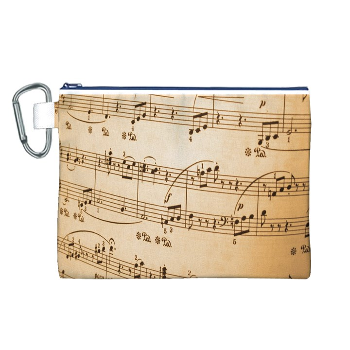 Music Notes Background Canvas Cosmetic Bag (L)