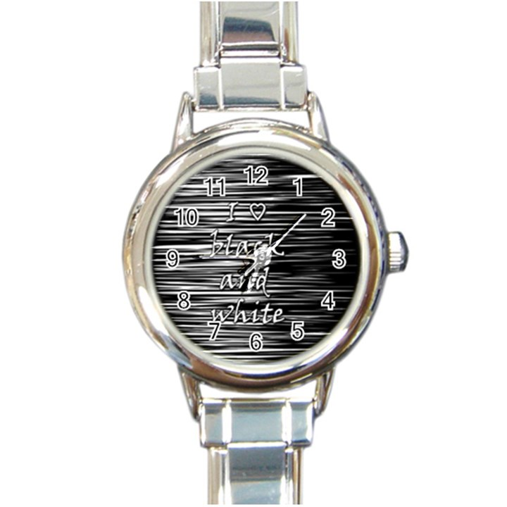 I love black and white Round Italian Charm Watch