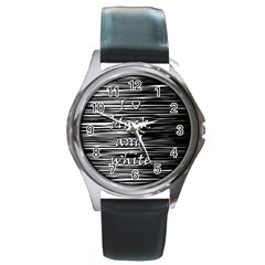 I love black and white Round Metal Watch