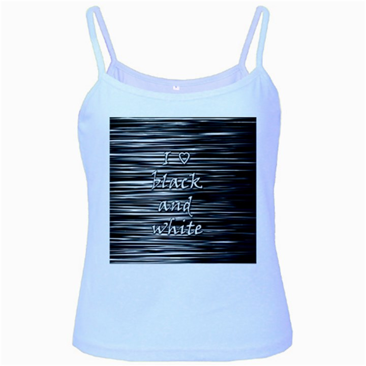 I love black and white Baby Blue Spaghetti Tank