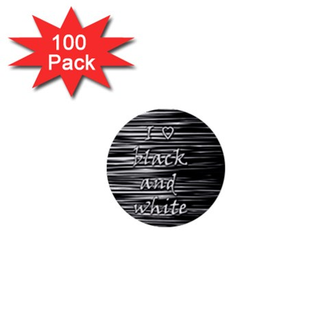 I love black and white 1  Mini Buttons (100 pack)