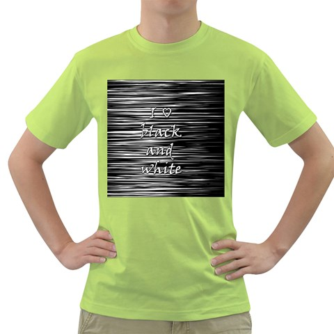 I love black and white Green T-Shirt