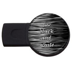 I Love Black And White Usb Flash Drive Round (2 Gb)