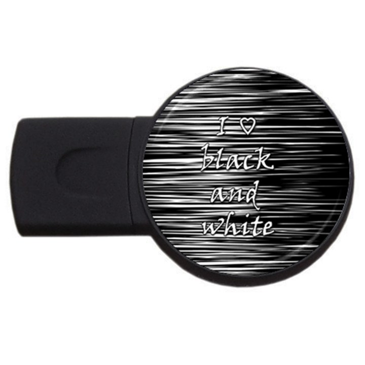 I love black and white USB Flash Drive Round (1 GB)