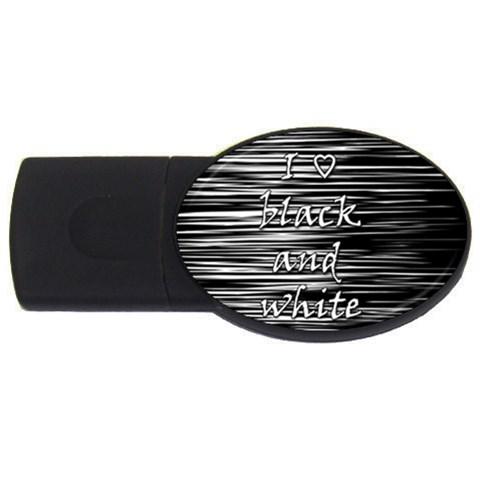 I love black and white USB Flash Drive Oval (2 GB)
