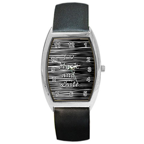 I love black and white Barrel Style Metal Watch