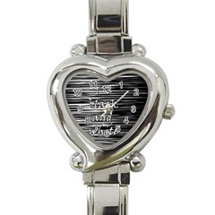 I Love Black And White Heart Italian Charm Watch