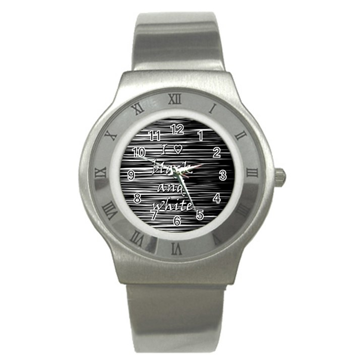 I love black and white Stainless Steel Watch