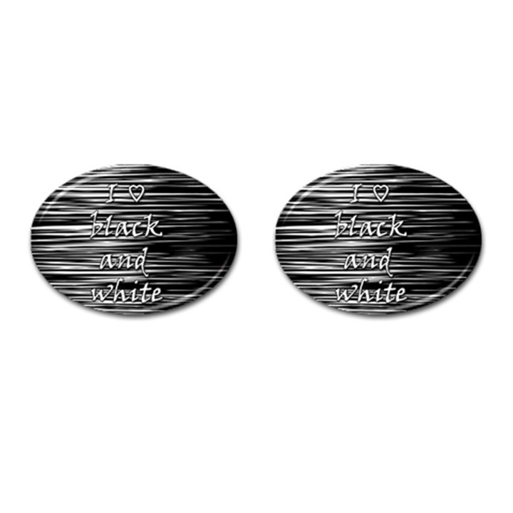 I love black and white Cufflinks (Oval)