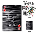 I love black and white Playing Cards 54 Designs  Front - Heart9