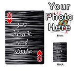 I love black and white Playing Cards 54 Designs  Front - HeartQ