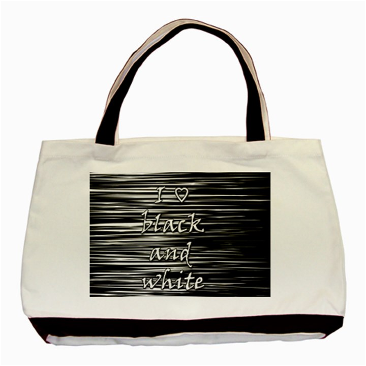 I love black and white Basic Tote Bag