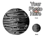 I love black and white Playing Cards 54 (Round)  Front - Spade3