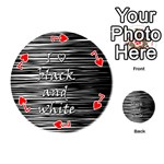 I love black and white Playing Cards 54 (Round)  Front - Heart7